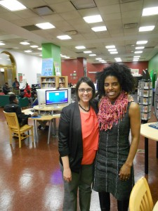 Adrienne Strock and Sybil Madison-Boyd at YouMedia space in the Chicago Public Library
