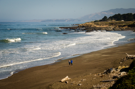 Moonstone Beach, Cambria, extends for a mile. Most of it is rimmed by a boardwalk.