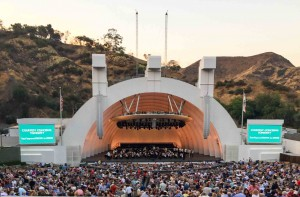Los Angeles Phil tuning up on a memorable summer evening at Hollywood Bowl.